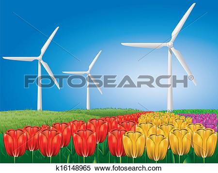 Clipart of Wind turbine on tulip field k16148965.