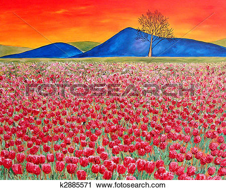 Clipart of Tulip field modern oil painting k2885571.