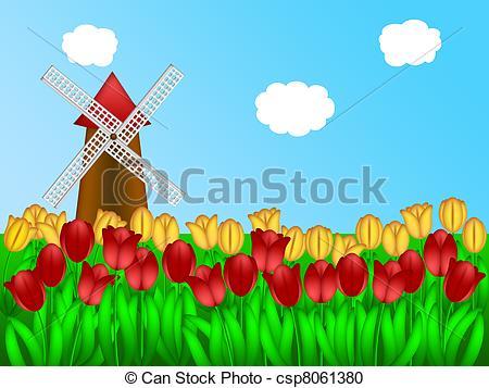 Stock Illustration of Dutch Windmill in Tulips Field Farm.