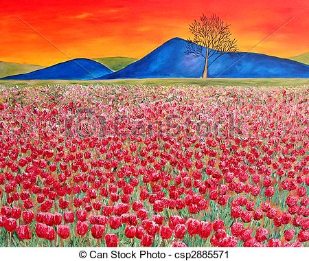Clipart of Tulip field modern oil painting.