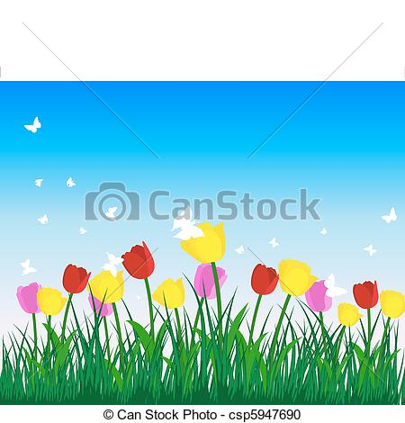 Vector Clipart of tulips.