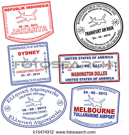 Clipart of Set of passport grunge stamps k15474312.
