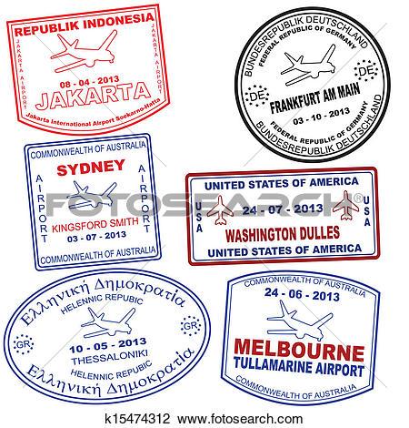 Clipart of Set of passport grunge stamps k15474312.