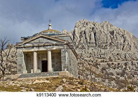 Stock Photography of Stone church on Velebit mountain k9113400.