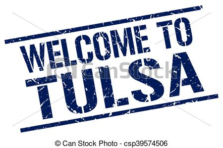 Vector Clipart of welcome to Tulsa stamp csp39574506.