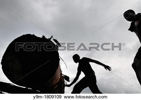 Stock Photograph of Colombian sawmill workers roll a log from the.