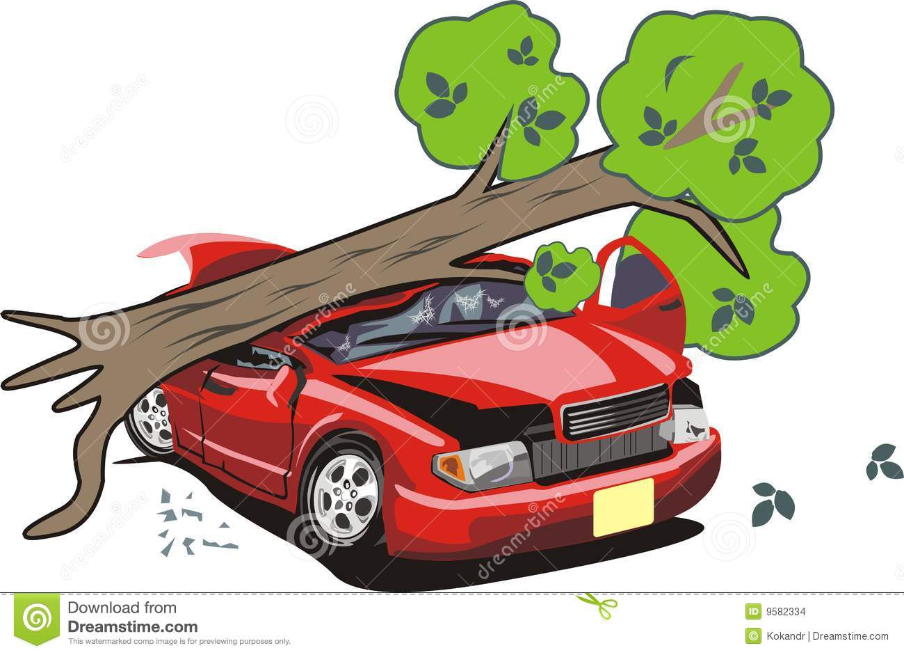 Tree Tumbled On Car Stock Images.