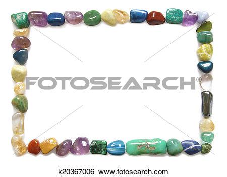 Stock Images of Tumbled stone crystal border k20367006.