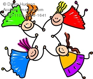 Clipart Image of Four Happy Silly Girls Tumbling Together While.