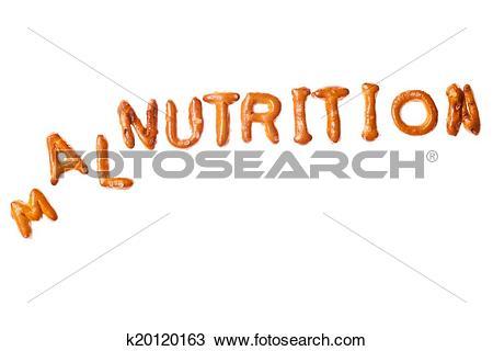 Stock Photo of Alphabet pretzel tumbled word MALNUTRITION isolated.