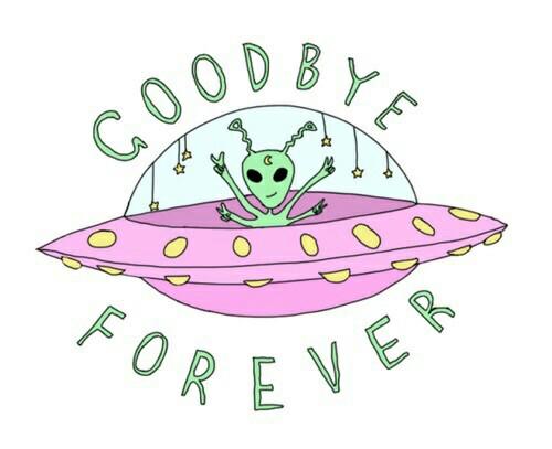 Pink aesthetic tumblr alien goodbye forever.