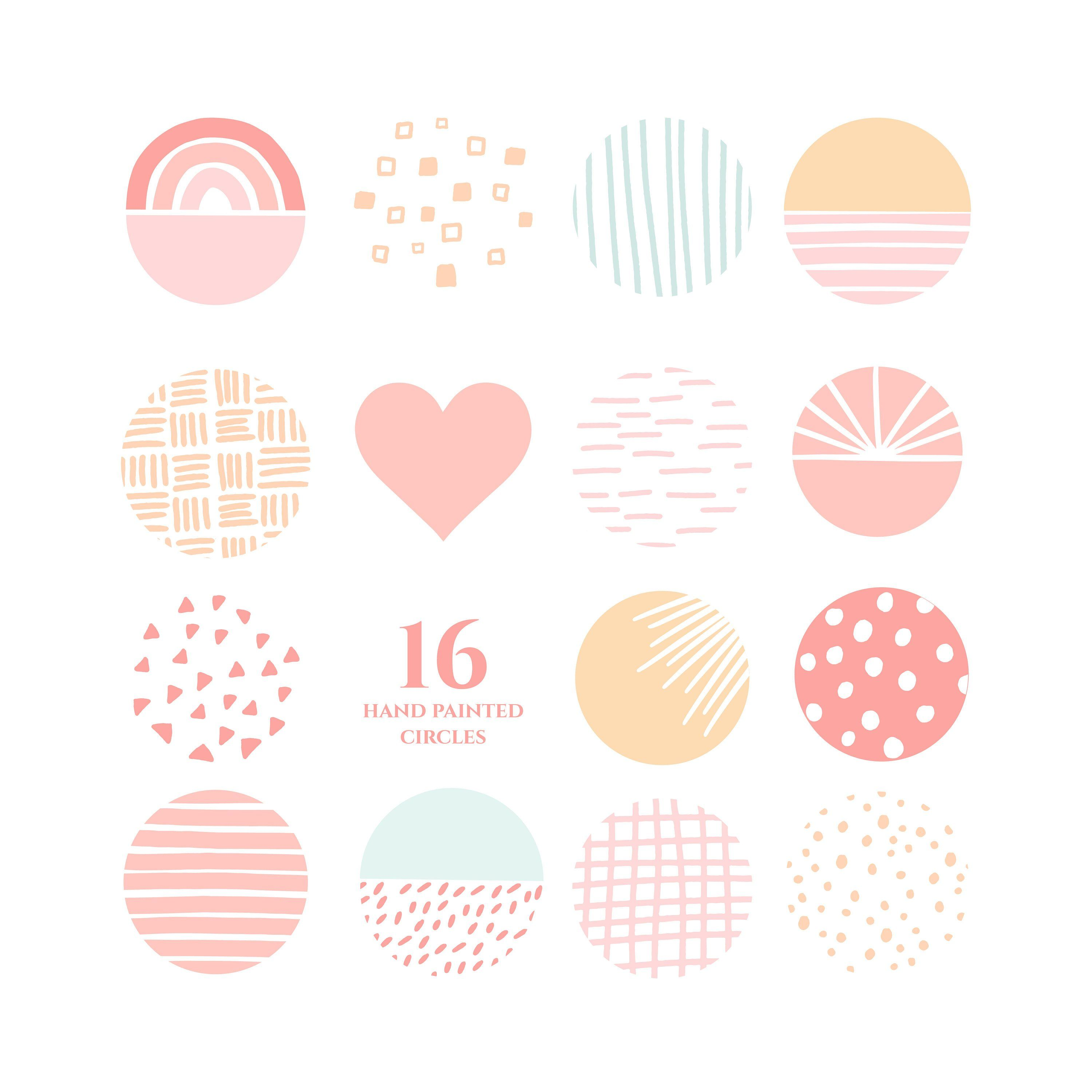 Sweet peaches instagram story highlight icons pattern pastel.