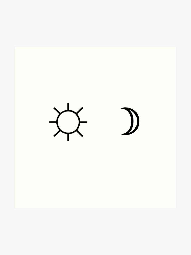 Sun and Moon minimalist aesthetic black and white tumblr design.