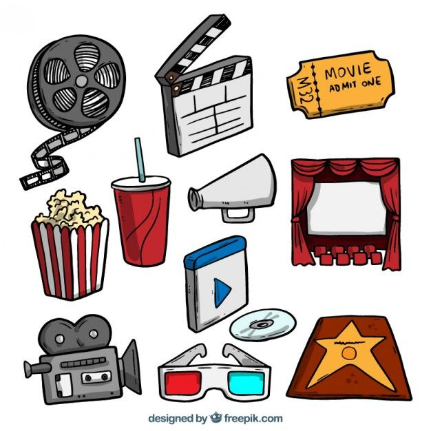 Hand drawn colored film objects pack Free Vector in 2019.