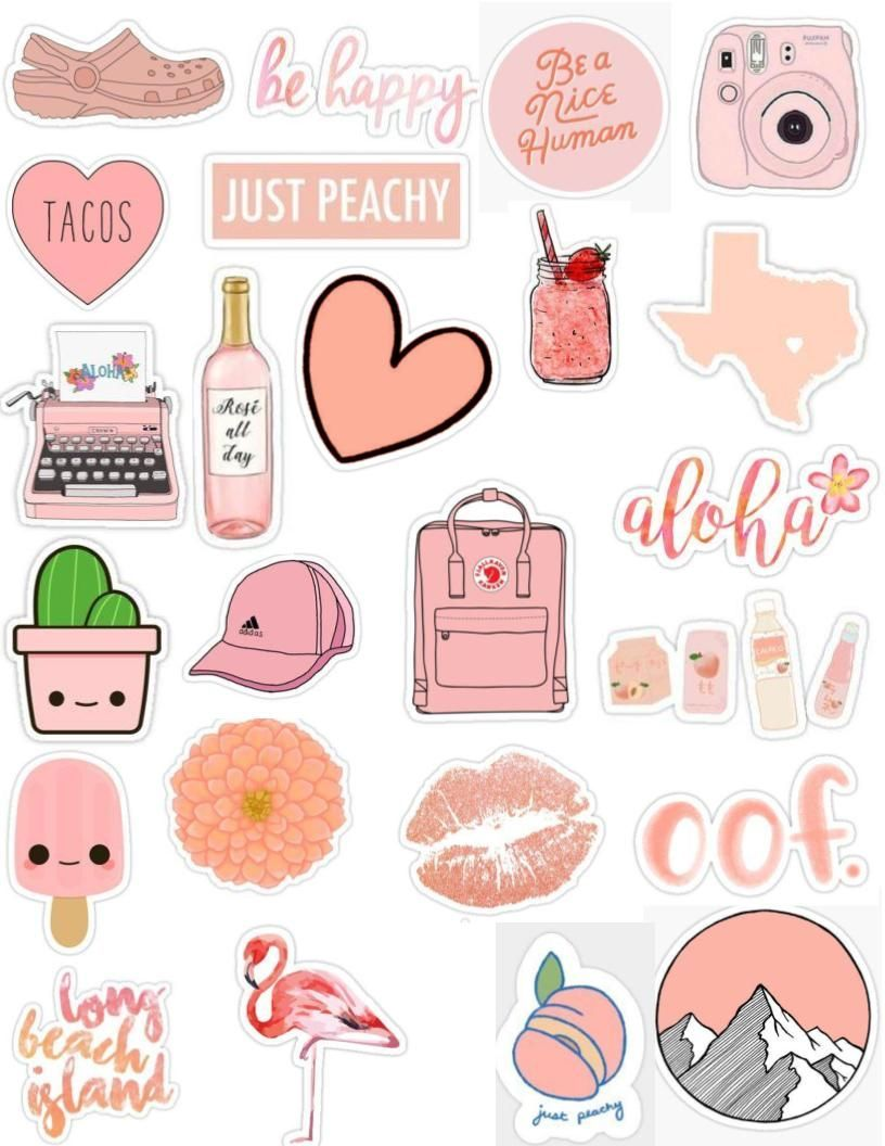 Peach tumblr sticker pack aesthetic, cute, edits, overlays.