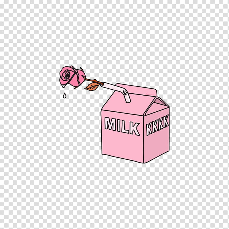 Pink milk carton illustration, Desktop Sticker , tumblr.