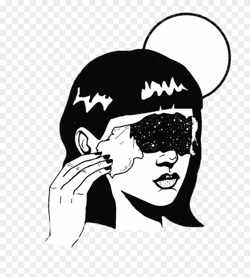 Draw Girl Space Tumblr Dessin Moon.