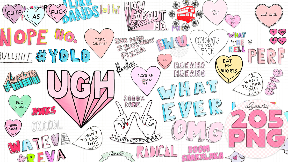 205 Random Overlays png tipo tumblr. by a.