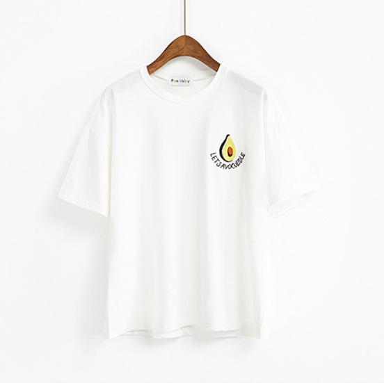 LETS AVOUCOOLE EMBROIDERY GREEN WHITE COTTON T.