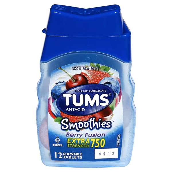 Tums Antacid Smoothies Extra Strength, Berry Fusion, 12 Chewable Tablets.
