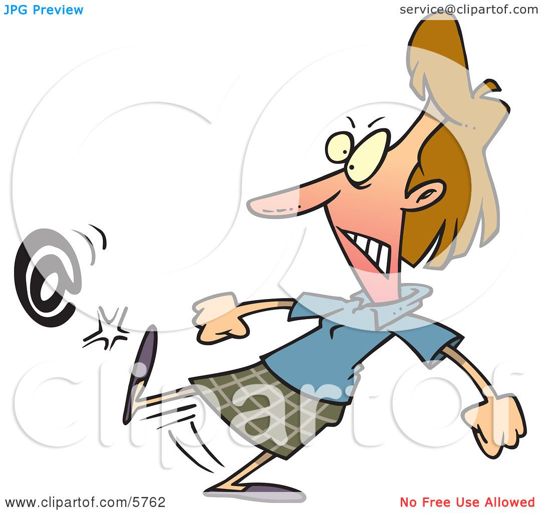Angry Woman Kicking an At Symbol Clipart Illustration by Ron.