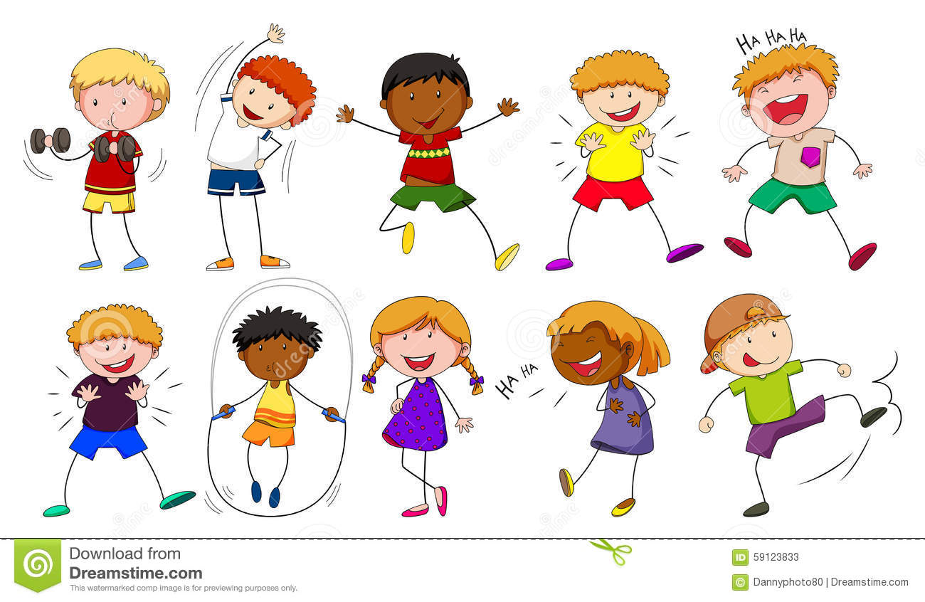 Boys And Girls Doing Different Activities Stock Vector.