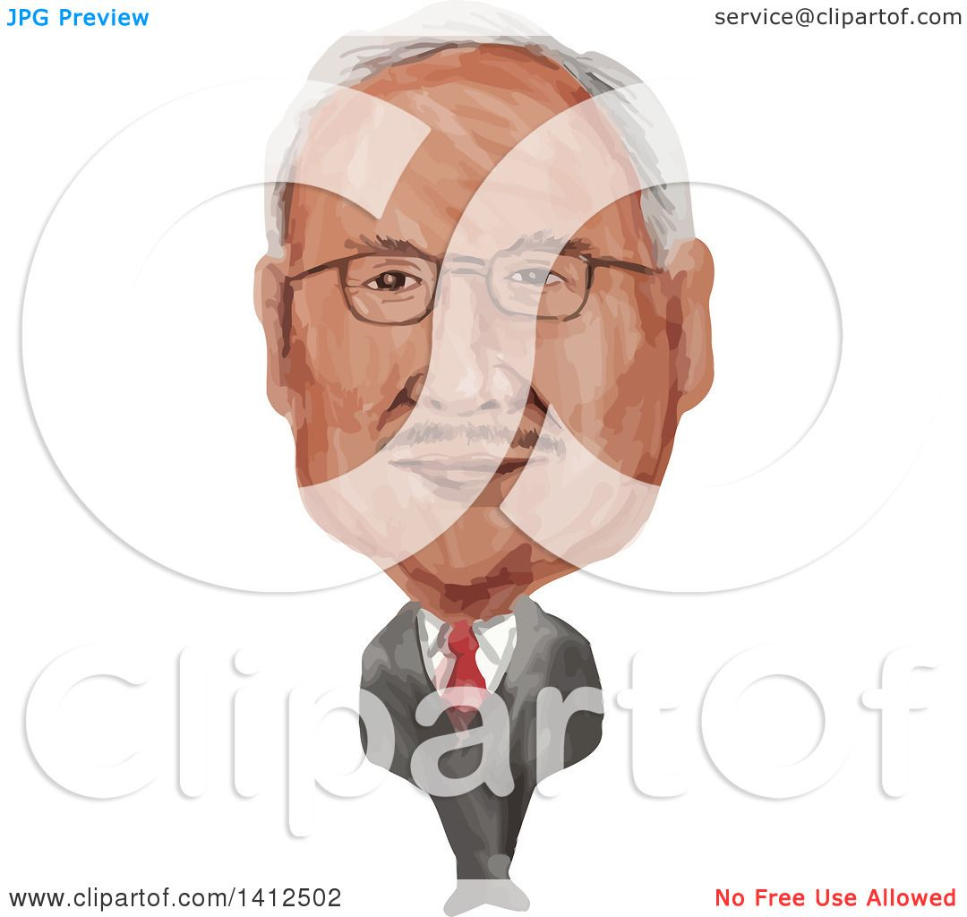 Clipart of a Watercolor Caricature of Dato Sri Haji Mohammad Najib.