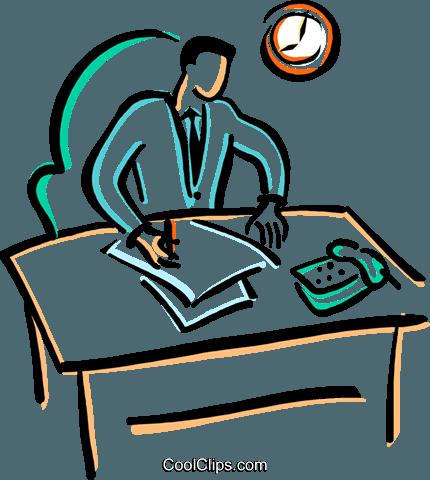 Büroangestellte tun Papier arbeiten Vektor Clipart Bild.