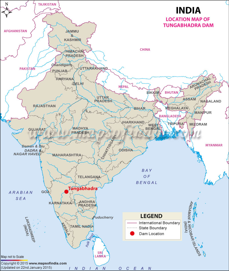 Tungabhadra Dam, Karnataka: Address, Map, Facts and Information.