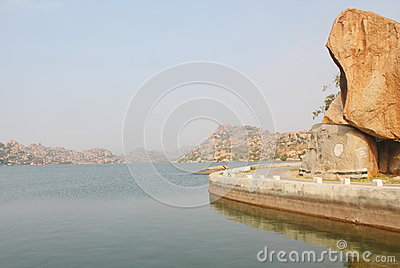 Tungabhadra River And The Mountains, Hampi, India Editorial Image.
