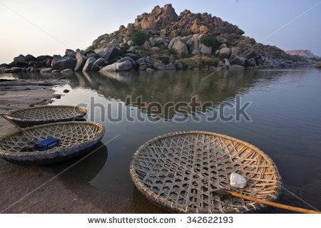 Coracle Boats Tungabhadra River Hampi Ruins Stock Photo 342622193.
