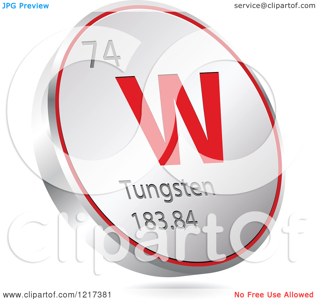 Clipart of a 3d Floating Round Red and Silver Tungsten Chemical.