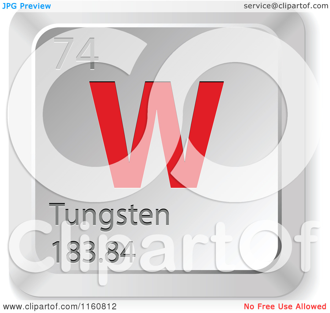 Clipart of a 3d Red and Silver Tungsten Chemical Element Keyboard.
