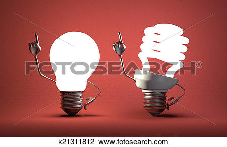 Clip Art of Spiral light bulb character and tungsten one with.