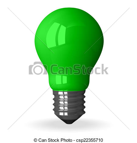 Clipart of Green tungsten light bulb standing, 3d render isolated.