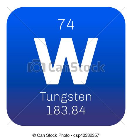 Clipart Vector of Tungsten chemical element. Also known as wolfram.
