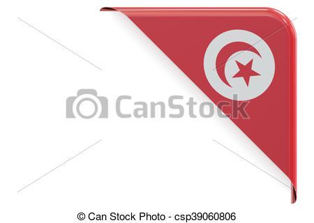 Stock Illustration of Tunis flag corner, button, label. 3D.