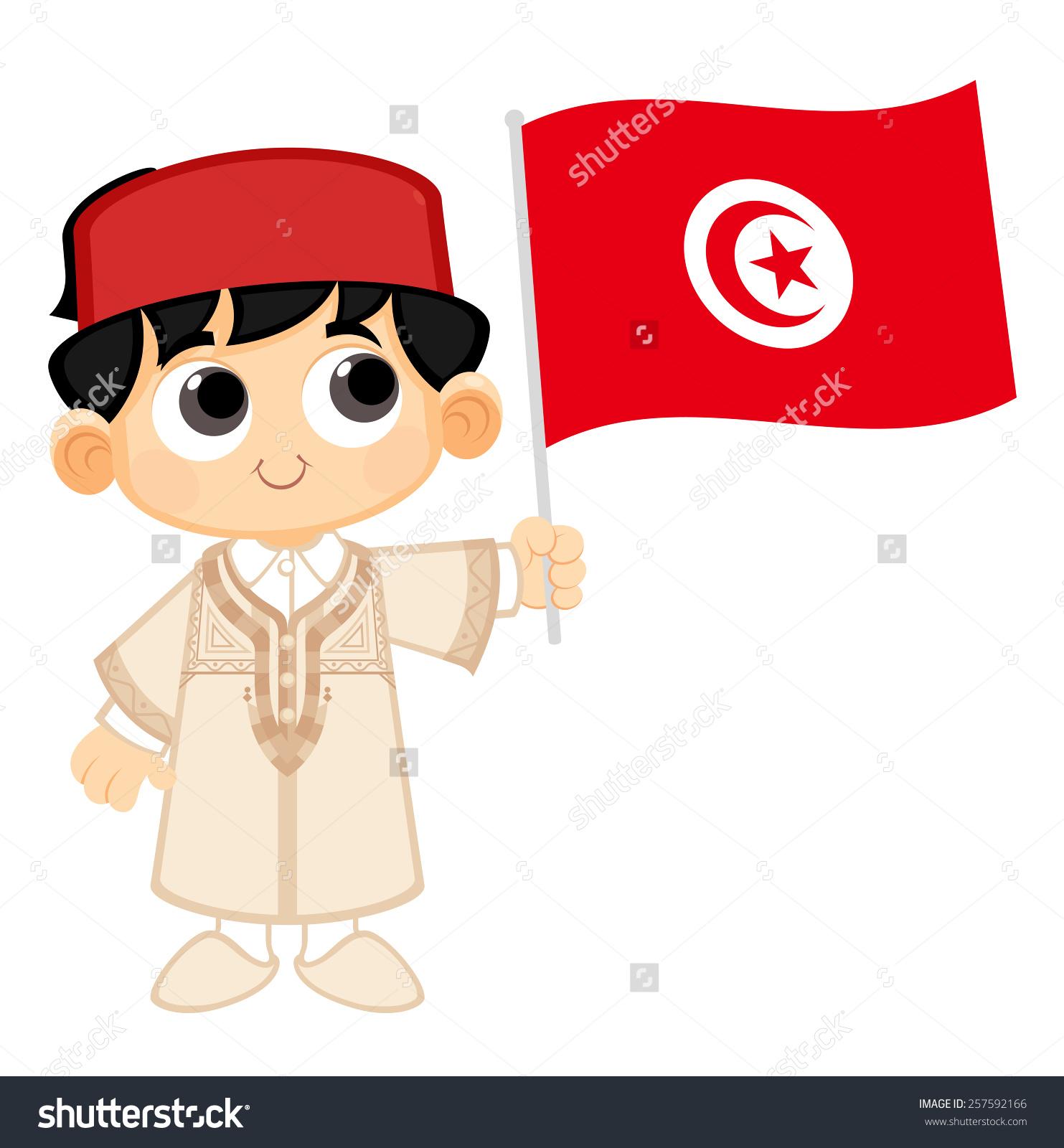 Little Boy Holding Tunisia Flag Stock Vector 257592166.