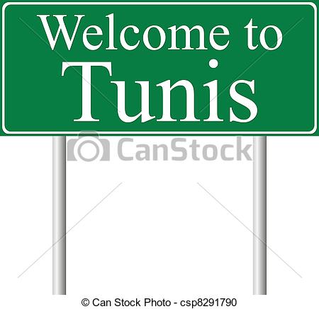 Vector Clipart of Welcome to Tunis, concept road sign isolated on.