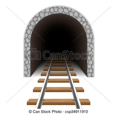 Vector Clip Art of railway tunnel vector illustration isolated on.