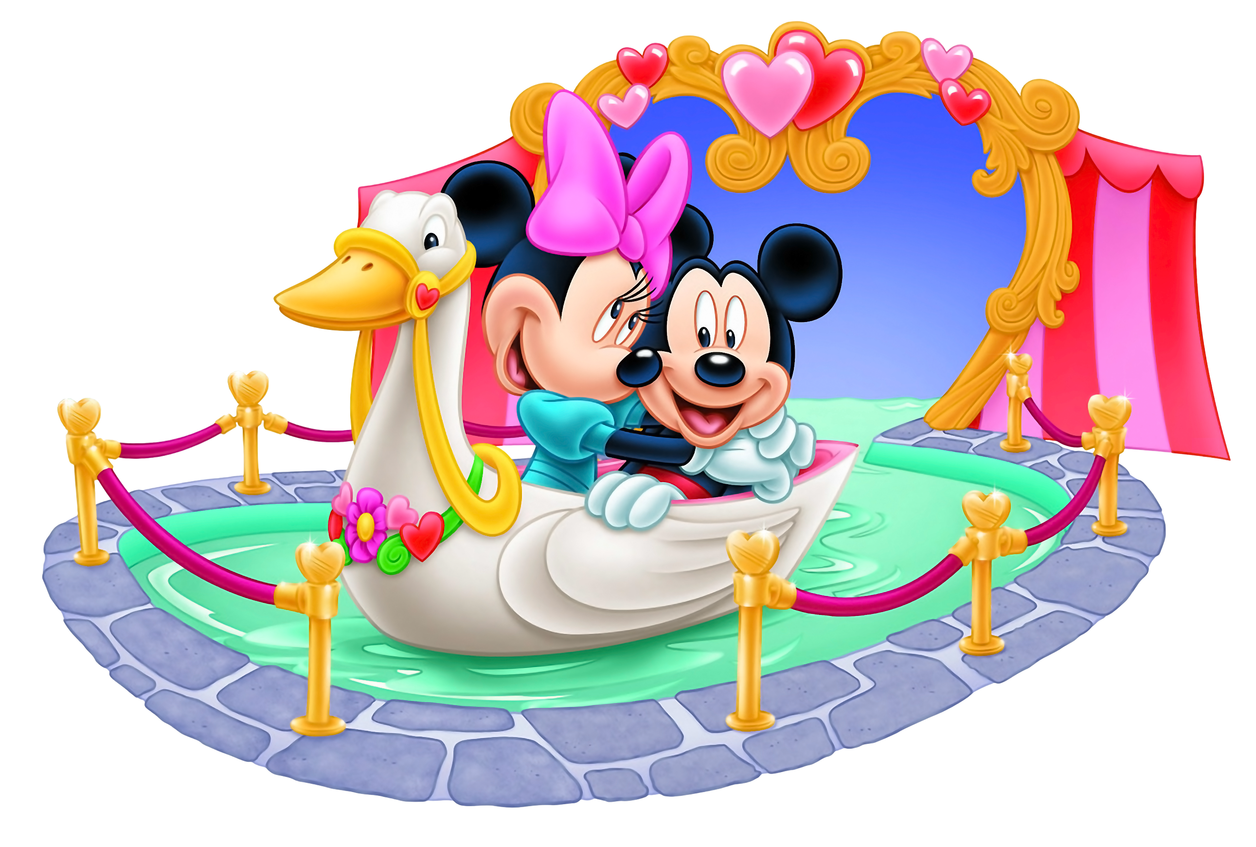 Mickey and Minnie Mouse Tunnel of Love PNG Clipart Image.