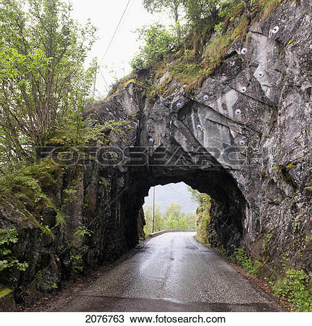 Stock Photo of A wet road leading through a tunnel in a rock cliff.