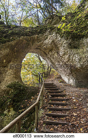 Stock Photo of Germany, Baden Wuerttemberg, Rock tunnel in Upper.