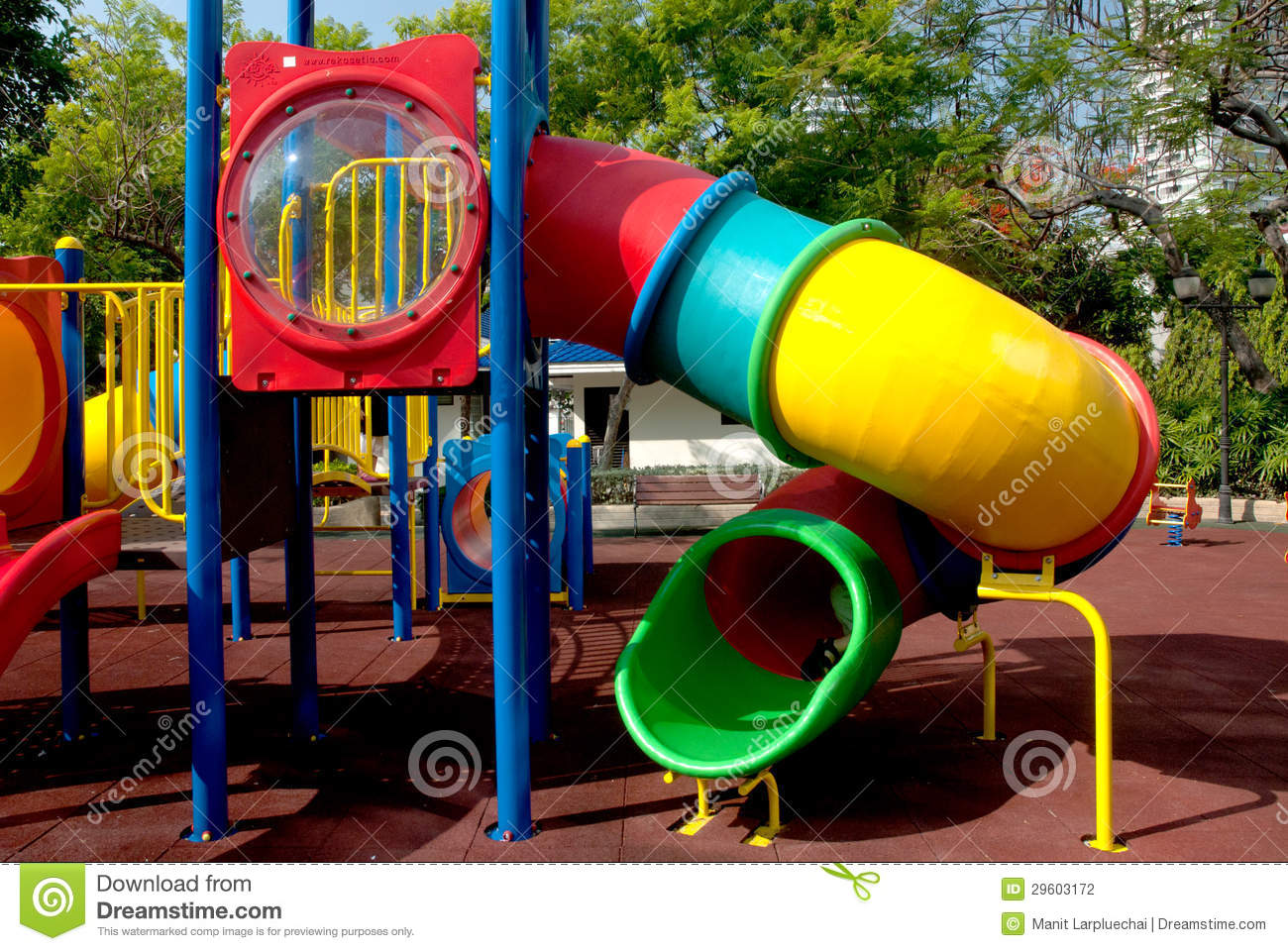 Colorful Spiral Tube Slide At Public Playground . Stock.
