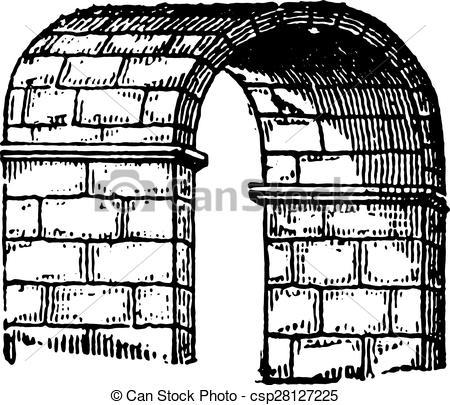 Vector Illustration of Barrel vault, vintage engraving..