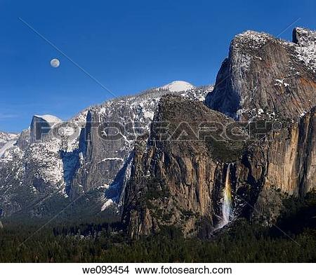 Stock Photo of Yosemite Valley from Tunnel View with Half Dome.