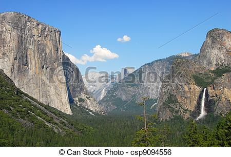 Stock Image of Tunnel view Yosemite National Park.