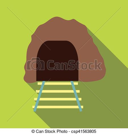 Vector Clipart of Railway tunnel icon, flat style.