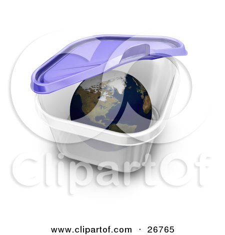 Clipart Illustration of The World Inside A Tupperware Container.