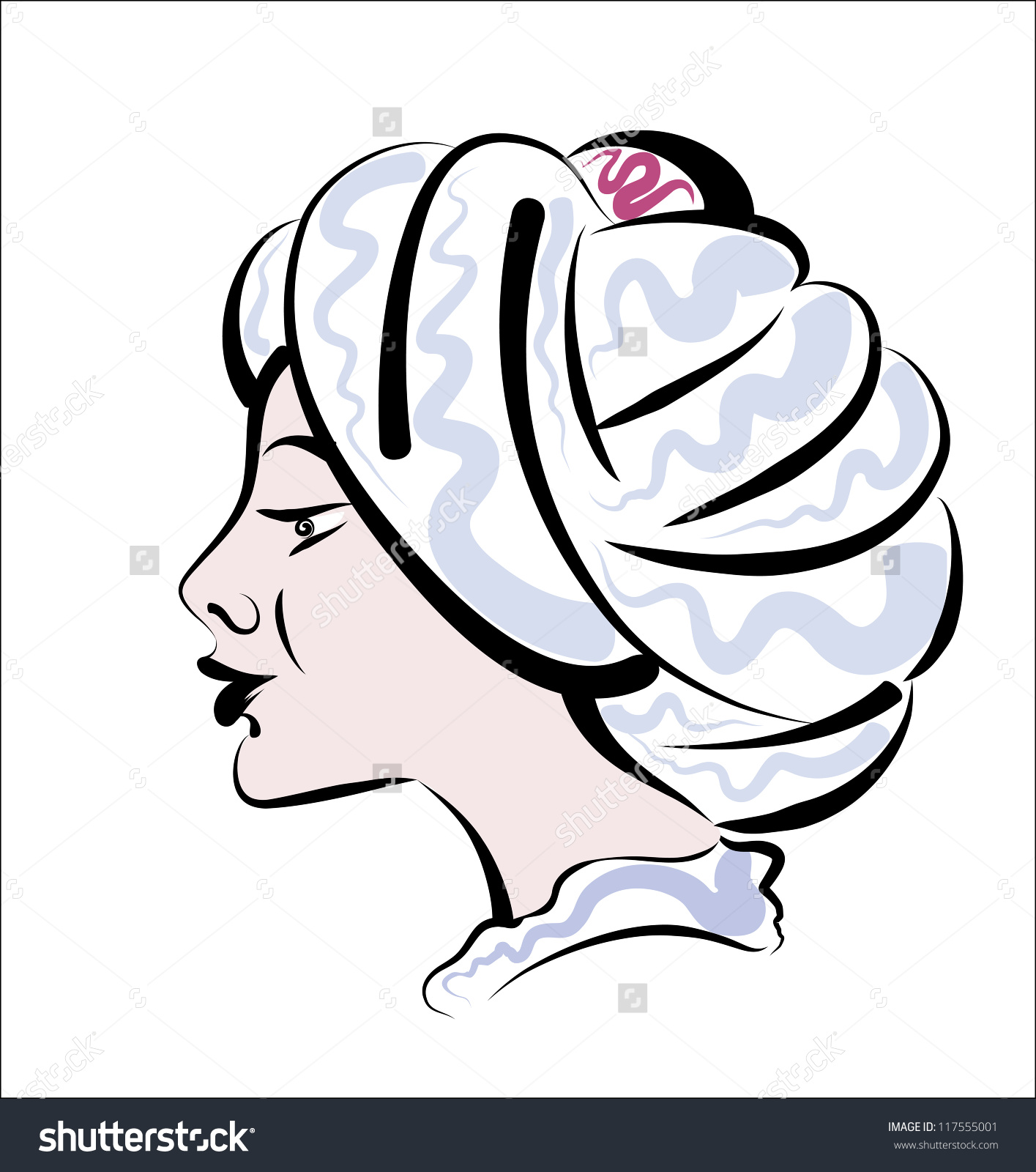 The Head Of The Young Aladdin In A Turban. Stock Vector.